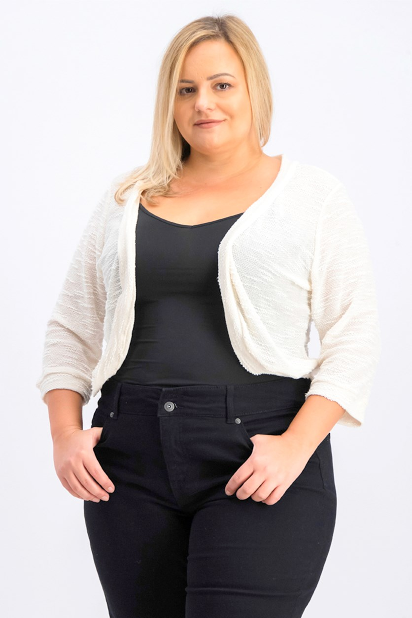 Women's Plus Size 3/4-Sleeve Shrug, Ivory