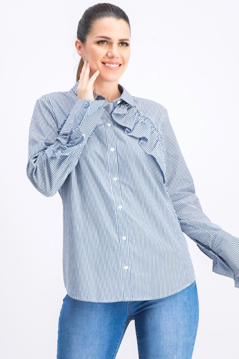 Women's Poplin Ruffled Button-Down Top, Blue