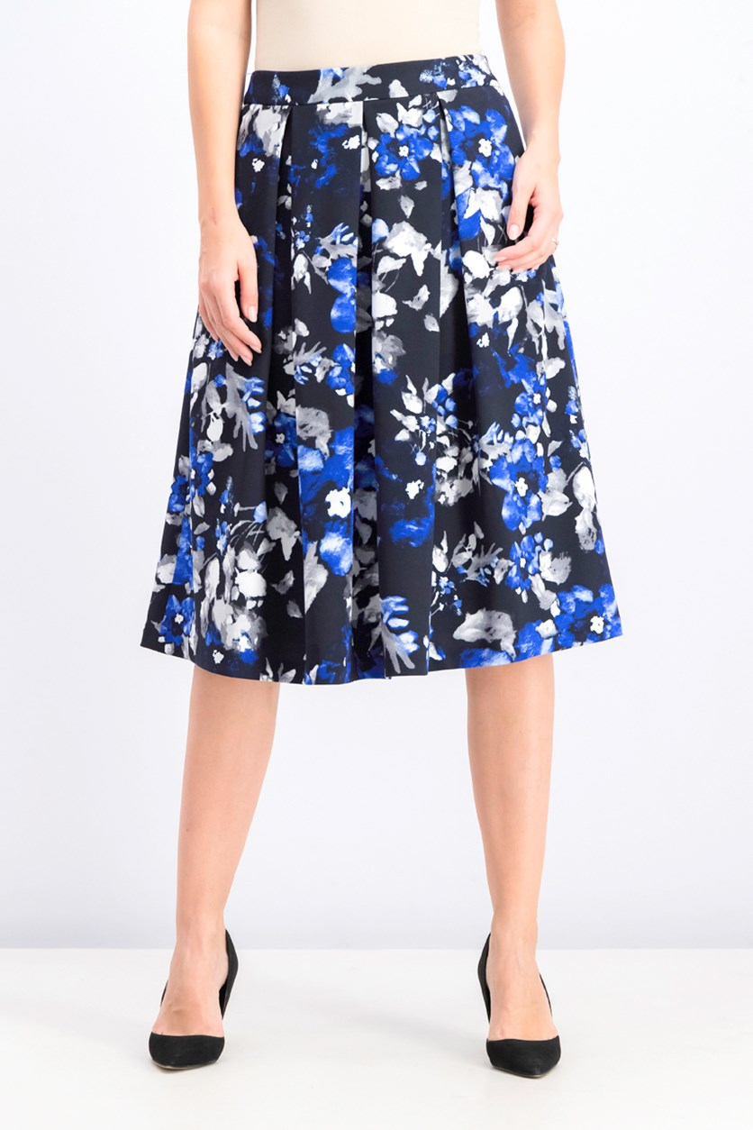 Women's Printed Pleated a-Line Midi Skirt, Royal Floral