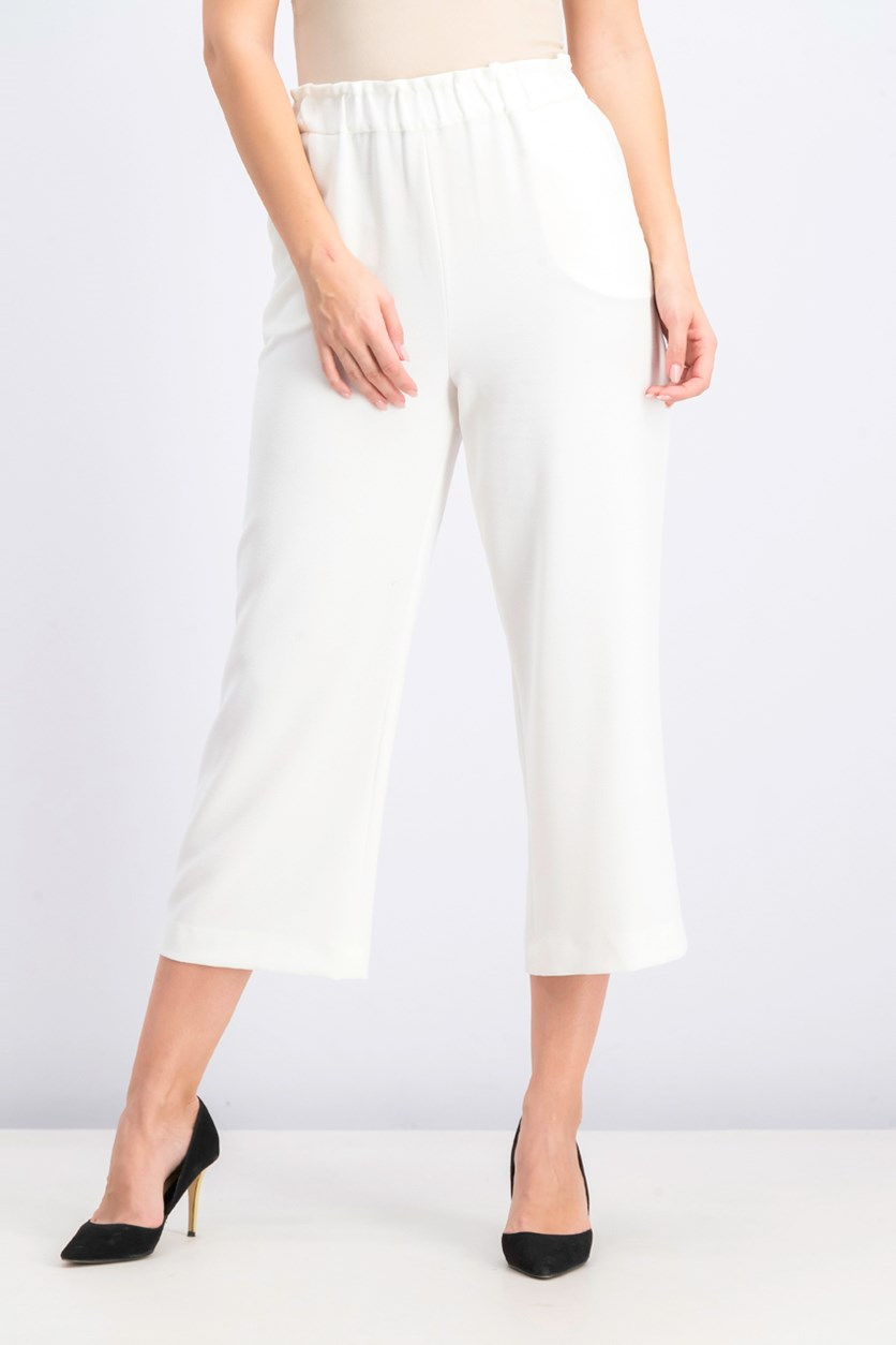 Women's Cropped Pull-on Pants, Ivory
