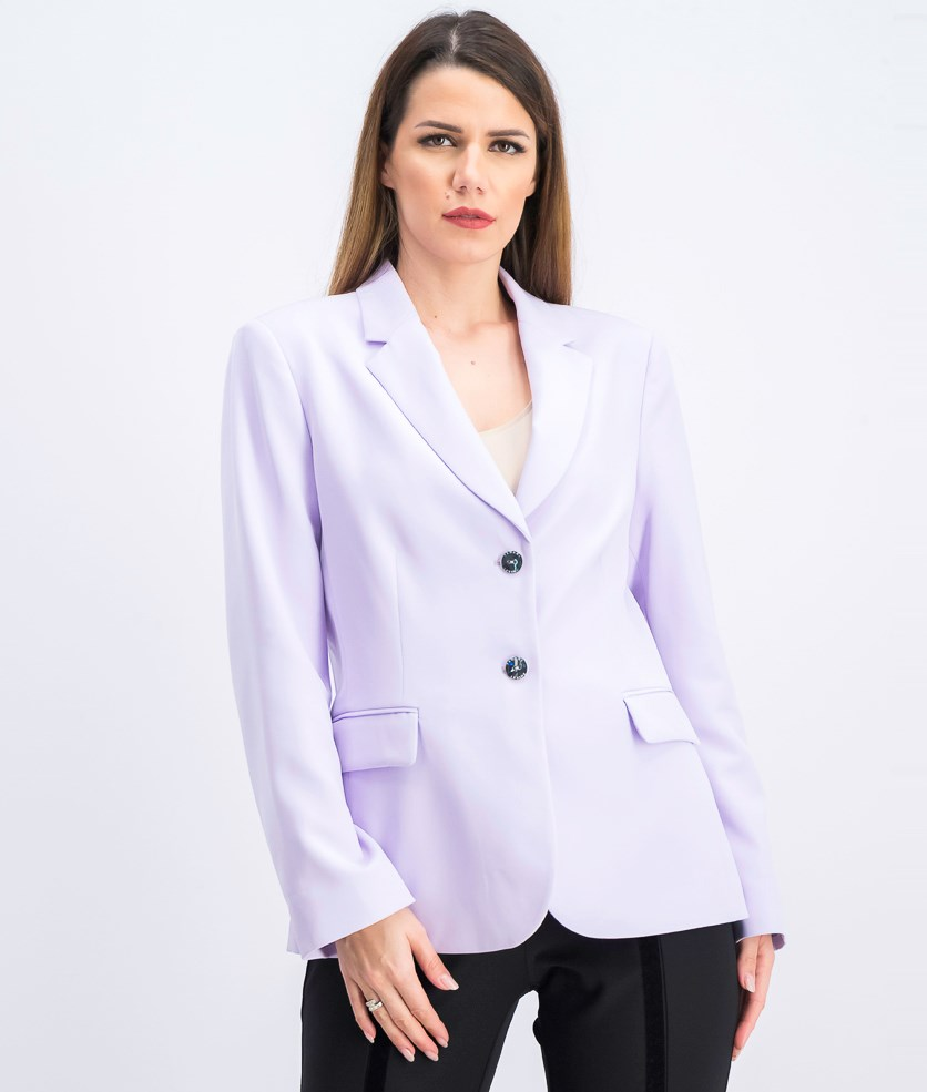 Women's Notch-Lapel Cuffed-Sleeve Blazer, Lavender