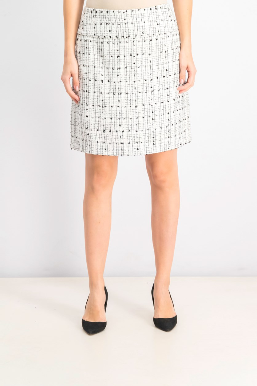 Women's Petite Embroidered Mini Skirt, Ivory/Black