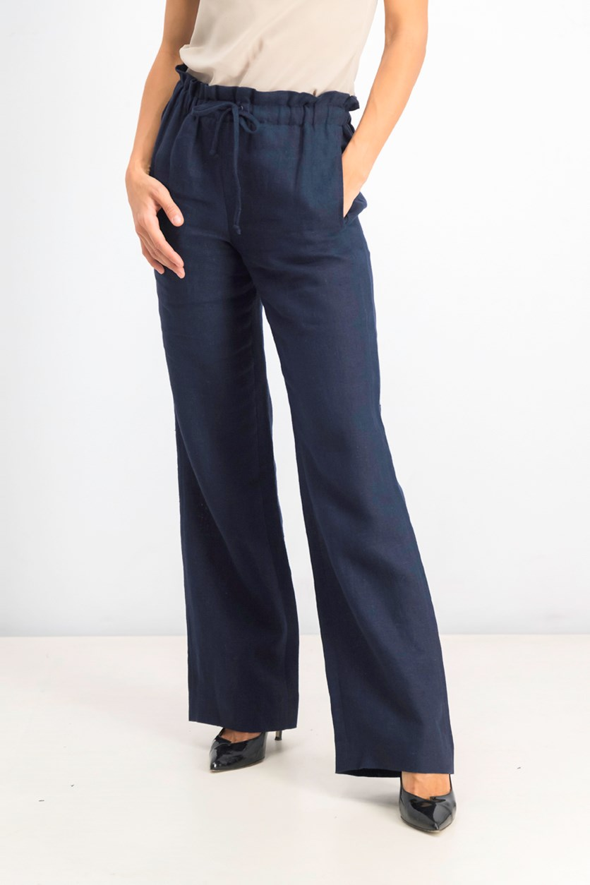 Linen Wide-Leg Pants, Navy