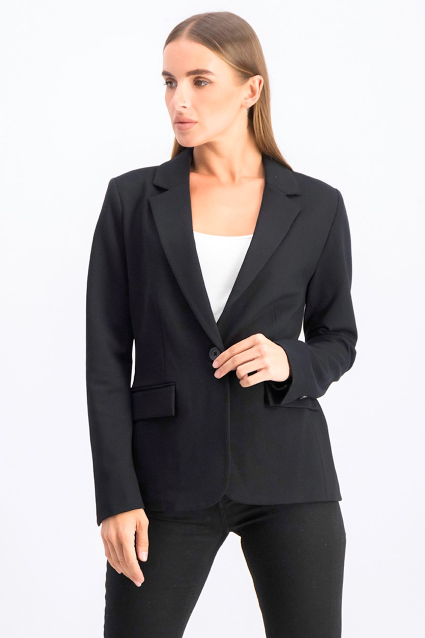 Women's Ponte Single-Button Blazer, Black