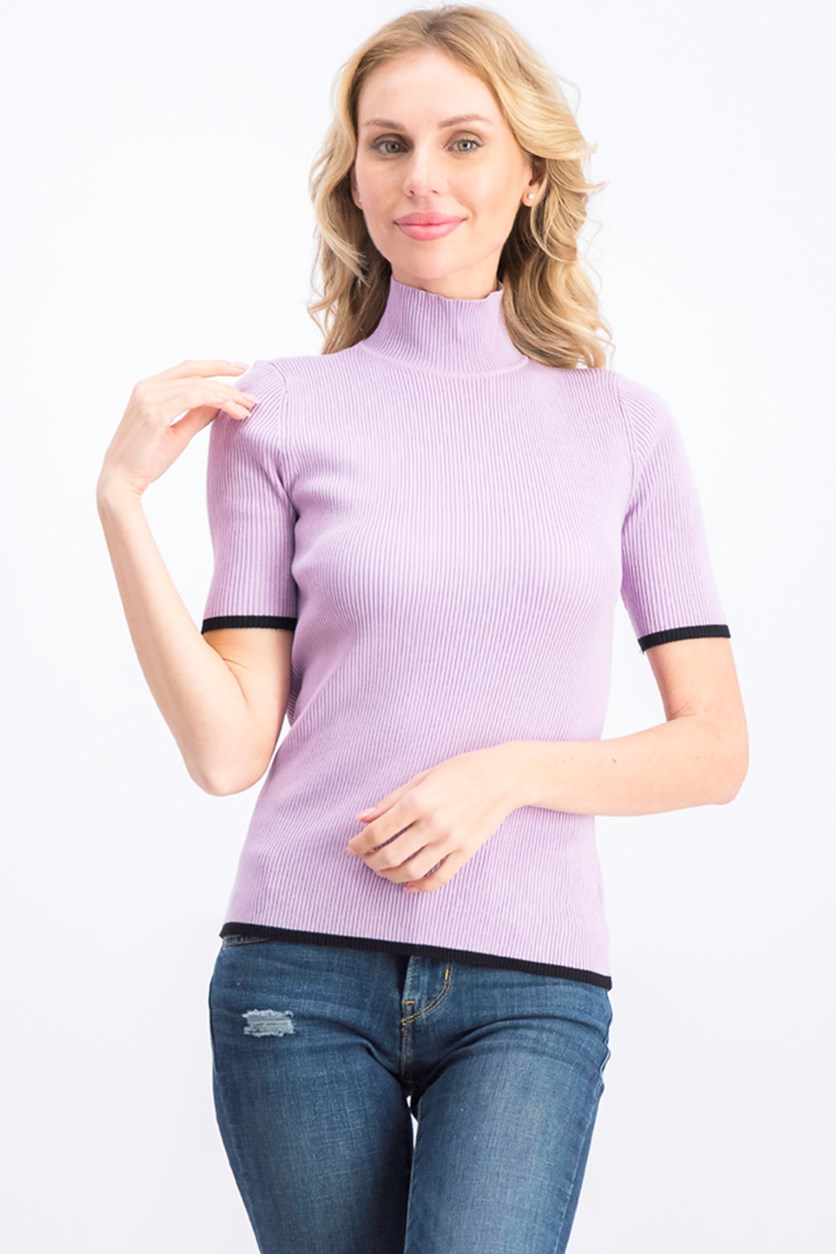 Women's Ribbed Tipped Mock-Neck Sweater, Light Primrose