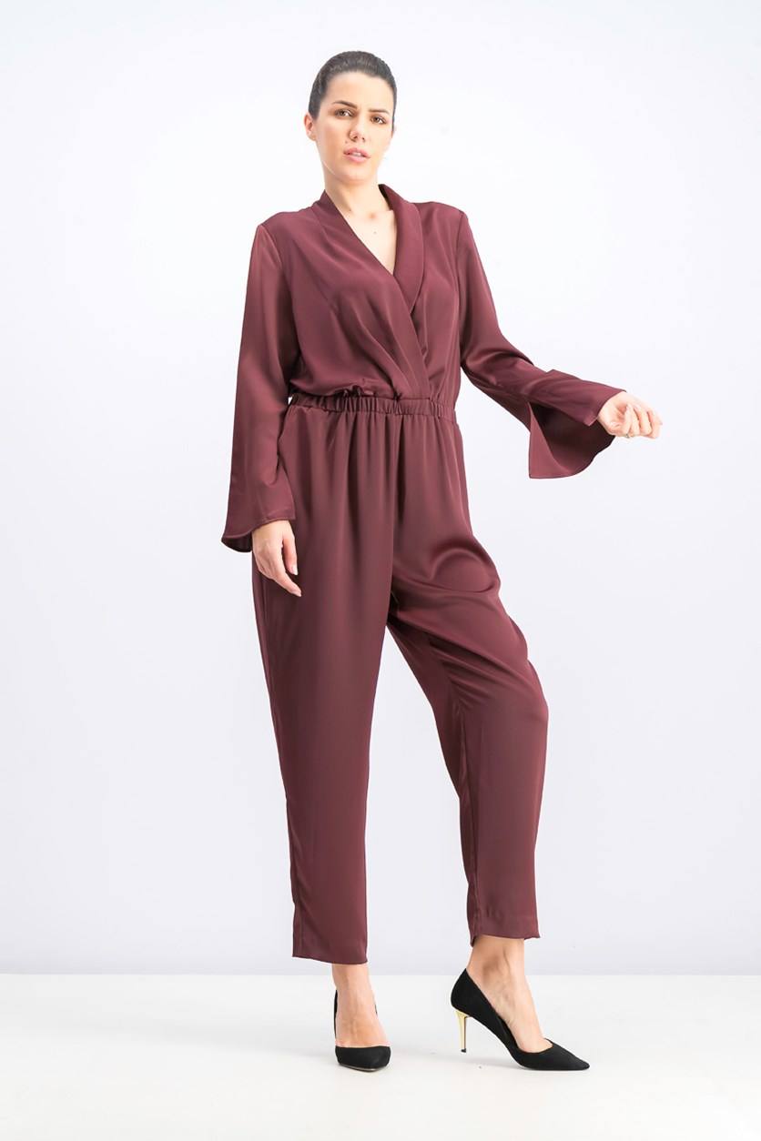 Women's Mock Wrap Satin Jumpsuit with Fitted Waist, Port