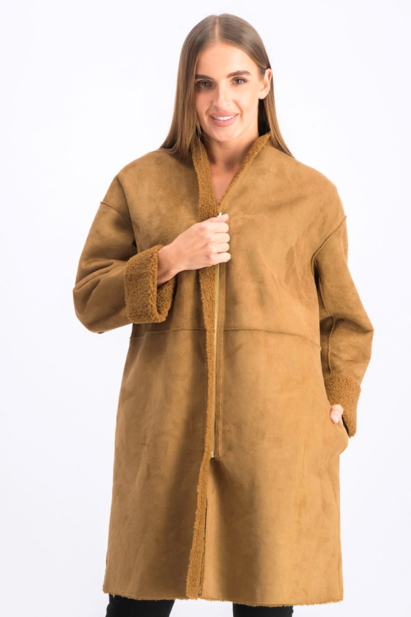Women's Faux-Shearling Coat, Caramel