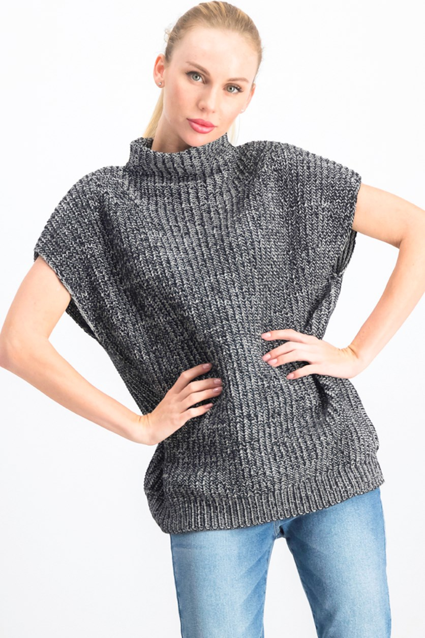 Women's Textured Sweater, Black/Grey