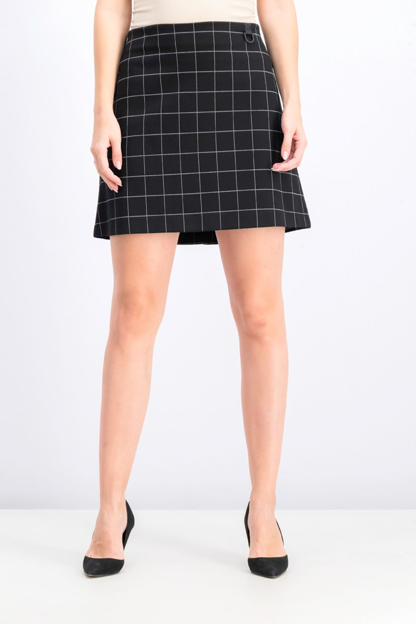 Women's Ponte Windowpane-Check Mini Skirt, Black