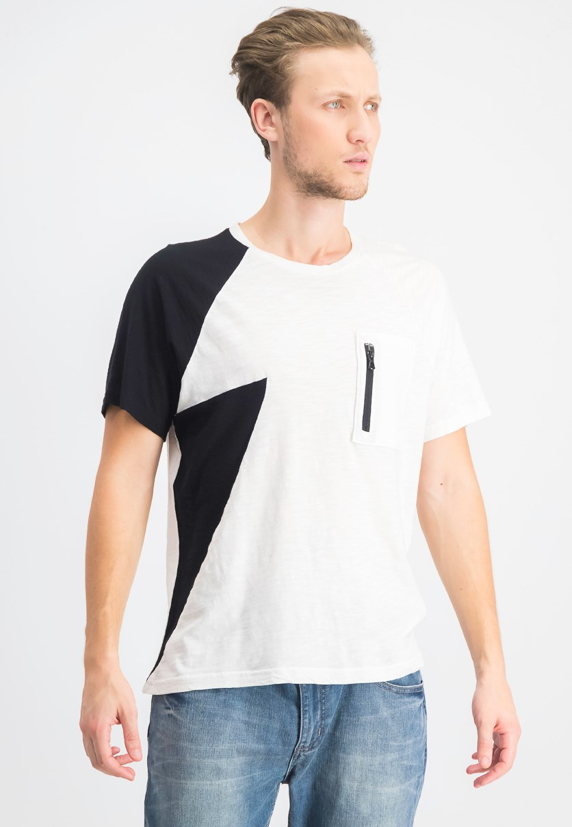Men's Zip Chest Pocket T-Shirt, White Pure/Black