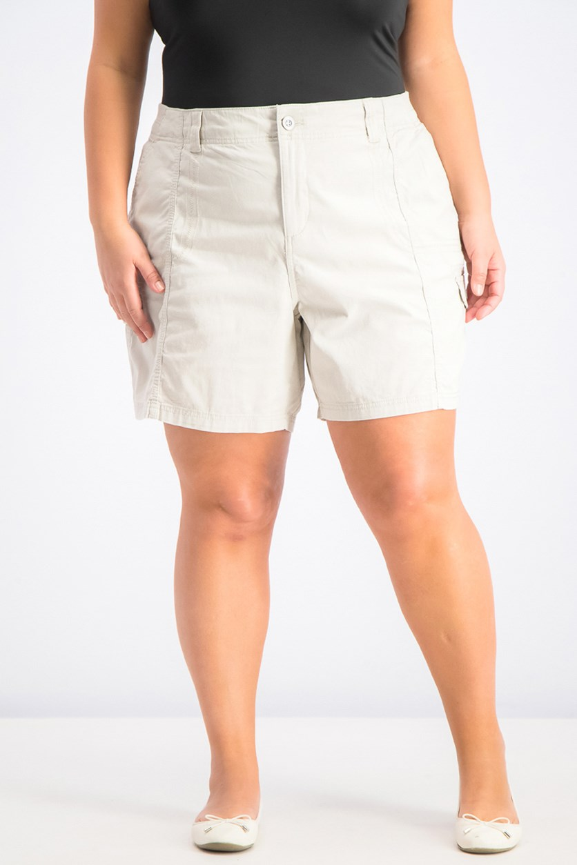Women's Plus Size Mid-Rise Comfort Cargo Shorts, Stone Wall