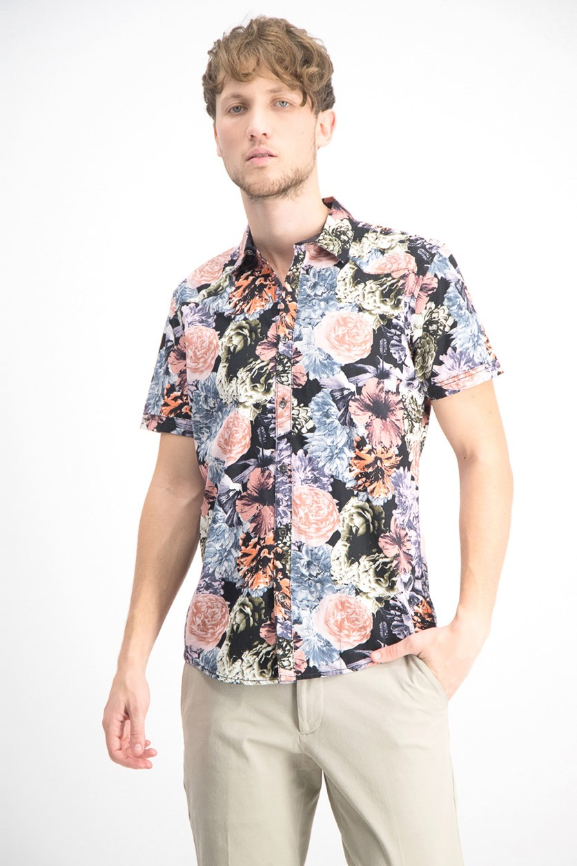 Men's Snap-Front Floral Shirt, Pale Mauve