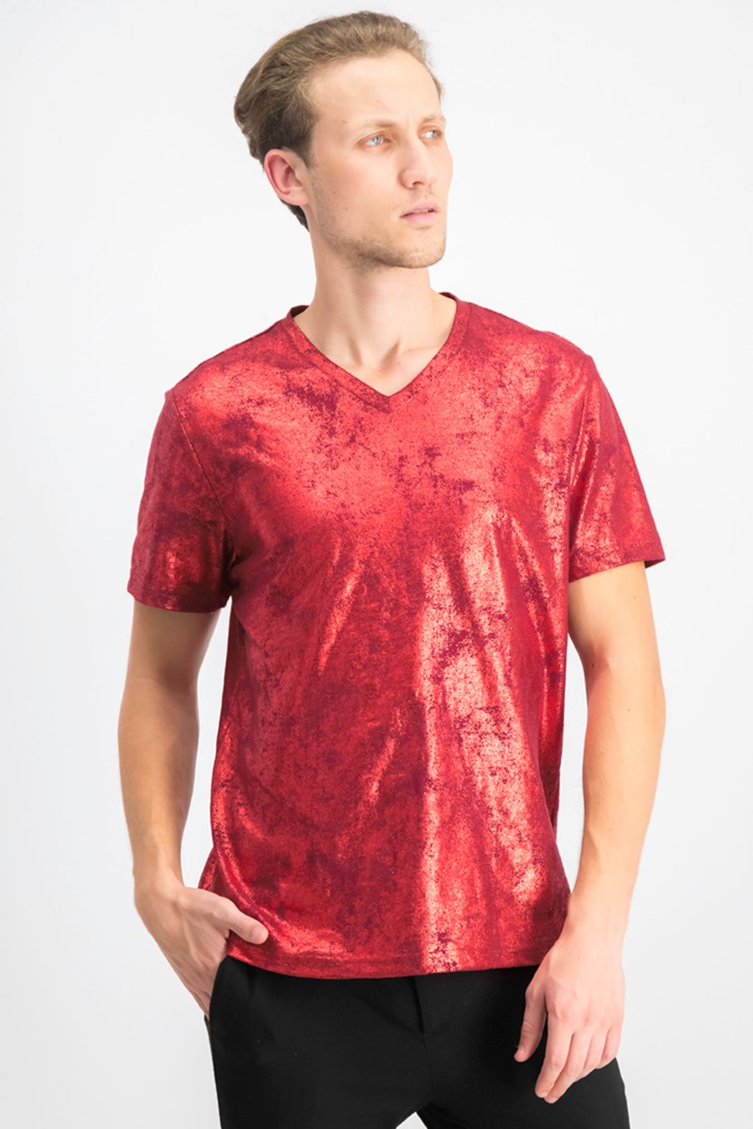 Men's Metallic Foil Print V-Neck T-Shirt, Licorice Red