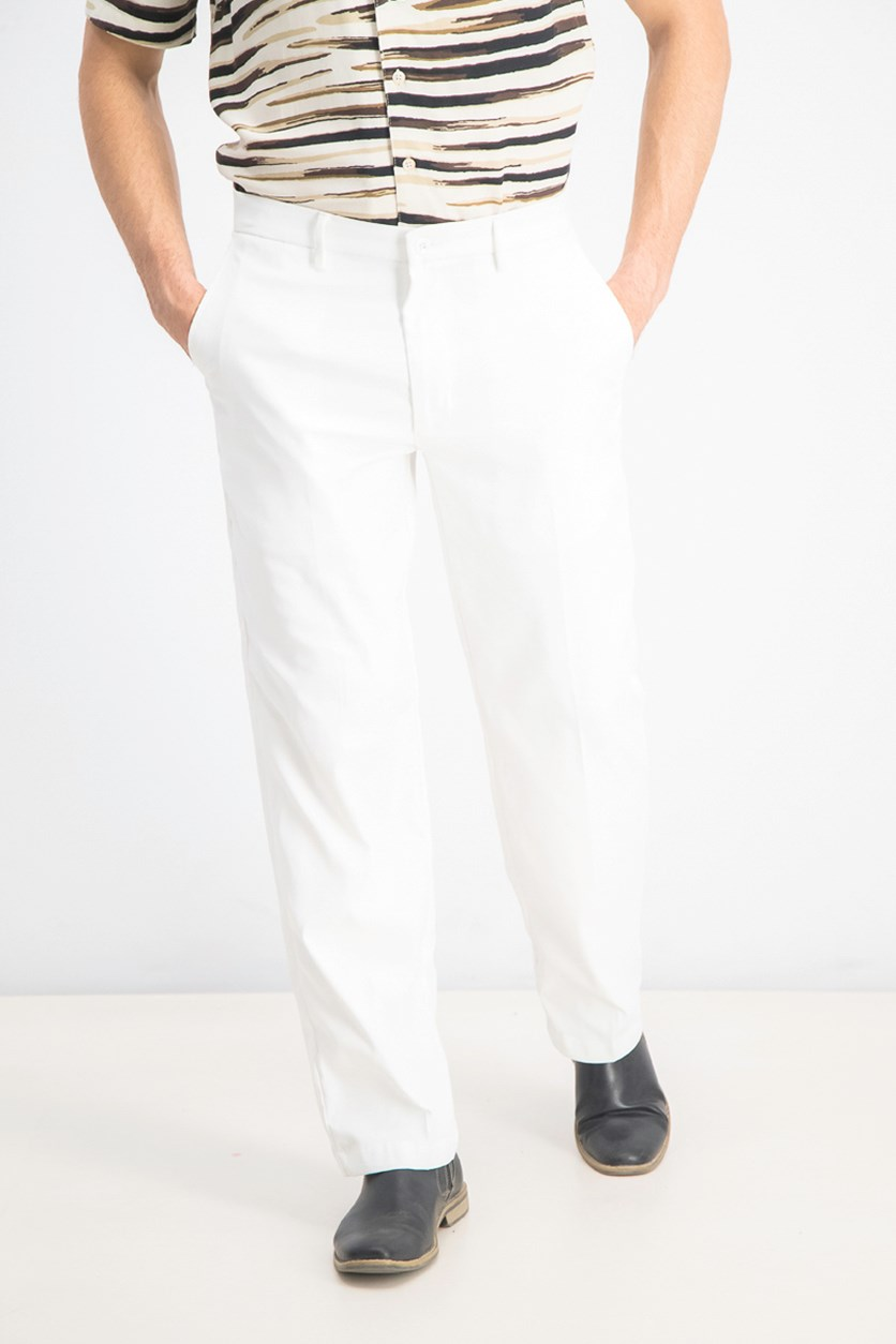 Men's Flat Front Pants, Bright White