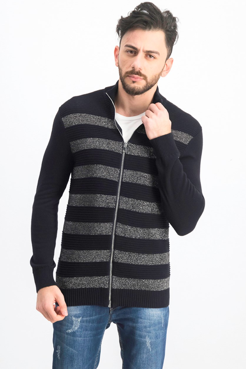 Men's Lurex Striped Zip-Front Sweater, Deep Black