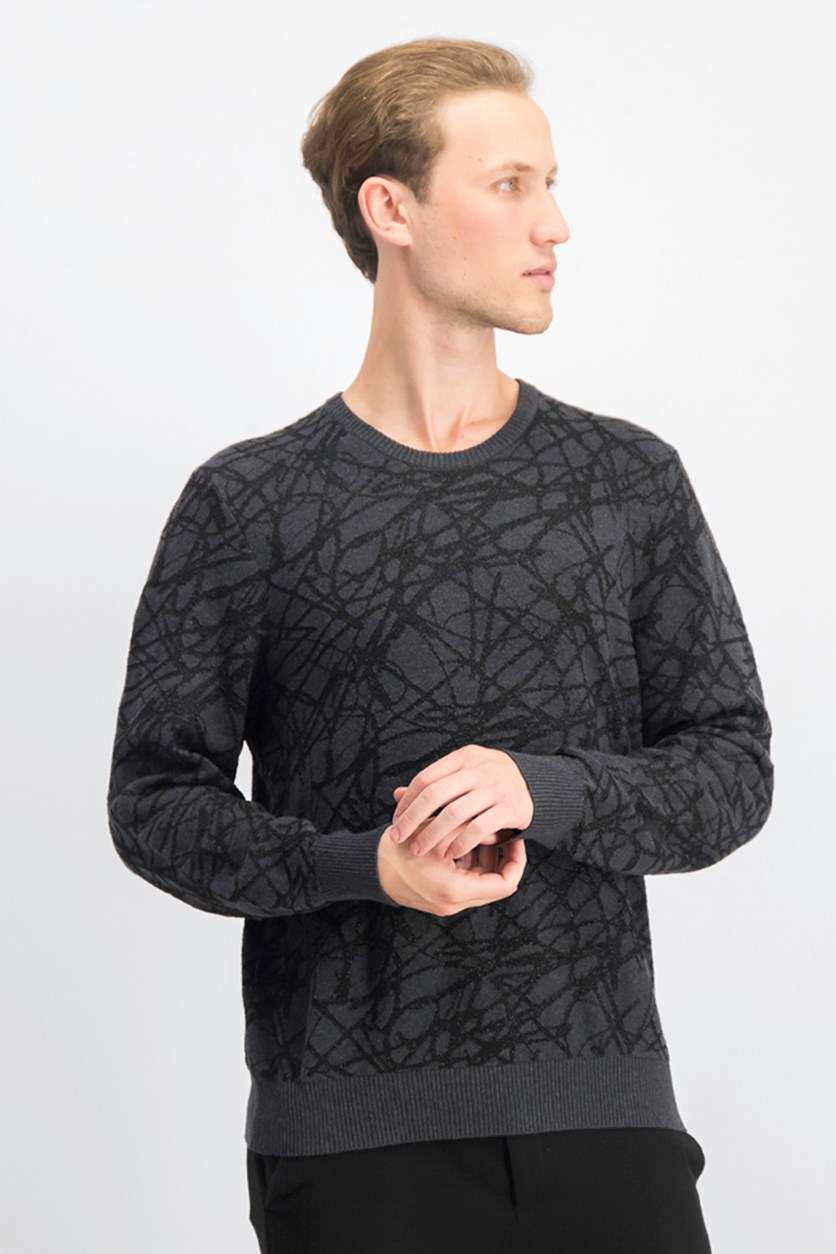 Men's Metallic Crew Sweater, Heather Onyx
