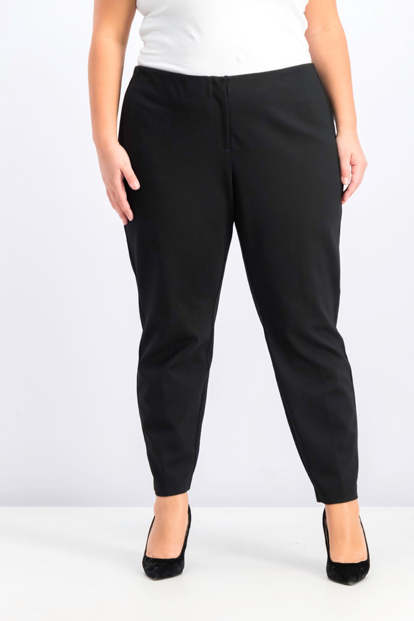Women's Plus Size Hollywood Skinny Ponte Pants, Deep Black
