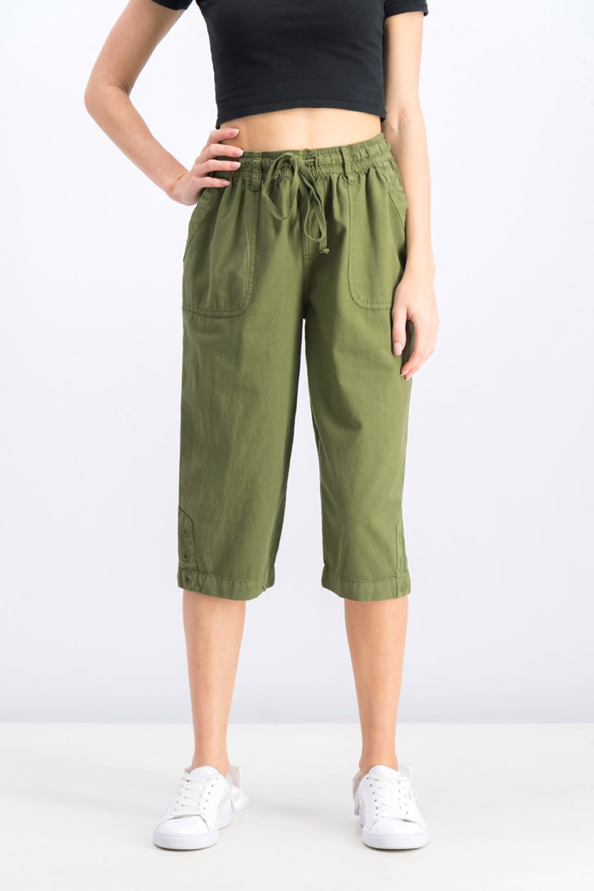 Women's Cotton Cropped Pants, Olive Sprig