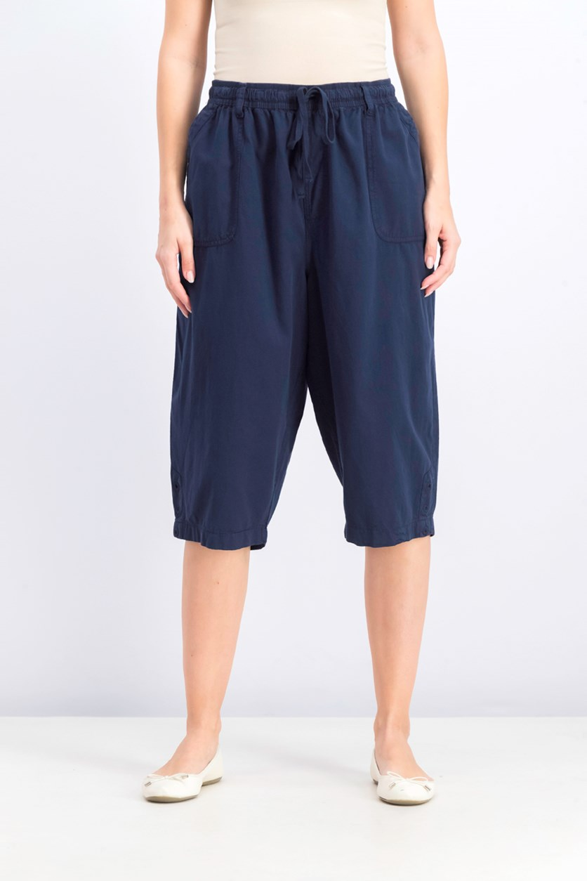 Women's Cotton Cropped Pants, Intrepid Blue
