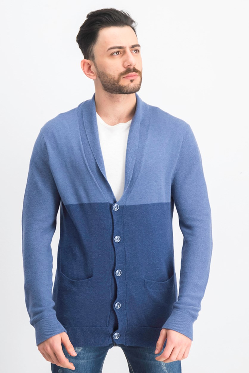 Men's Colorblocked Shawl-Collar Cardigan, Sunwashed Blue