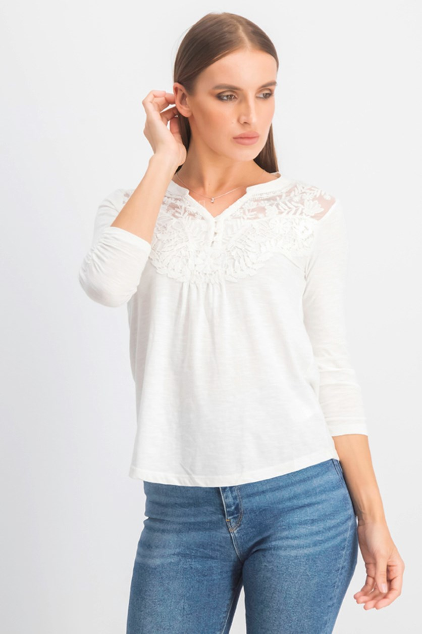 Women's Petite Embroidered Split-Neck Top, Winter White