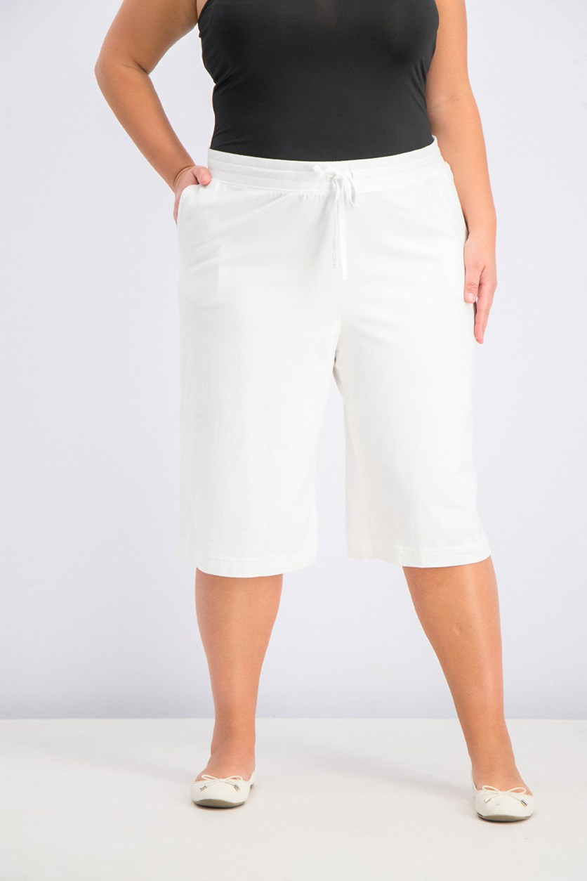 Pull-On Knit Skimmers Short, White