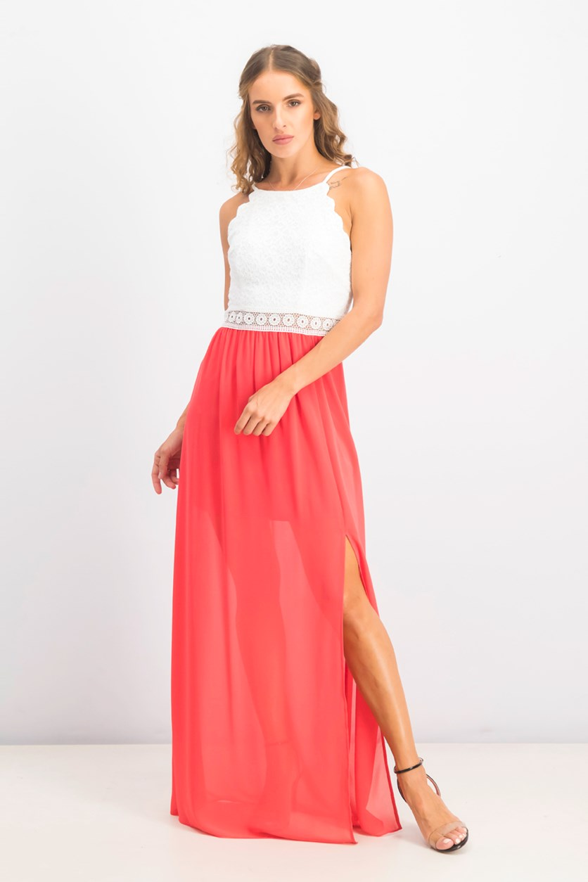 Juniors' Scalloped Lace & Chiffon Maxi Dress, Coral
