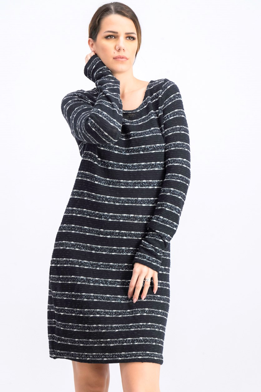 Women's Long Sleeve Sweater Dress, Black