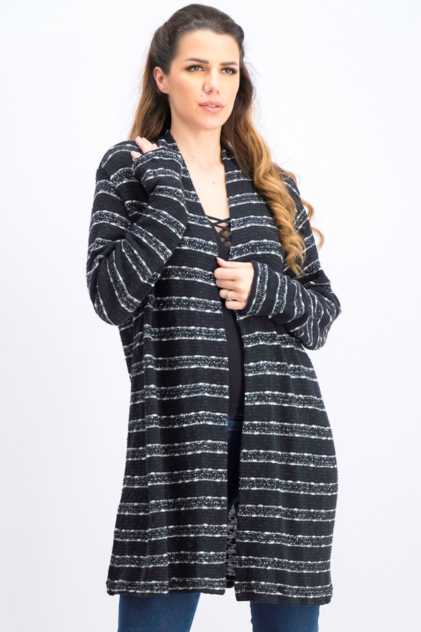 Women's Open Front Long Sleeve Cardigan, Black