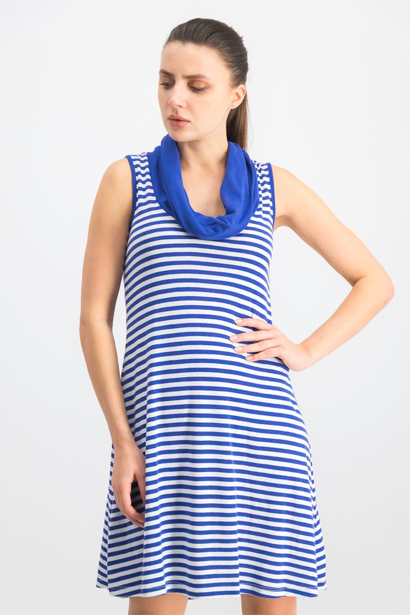 Women's Mykonos Stripes Cowl Neck Dress, Blue/White