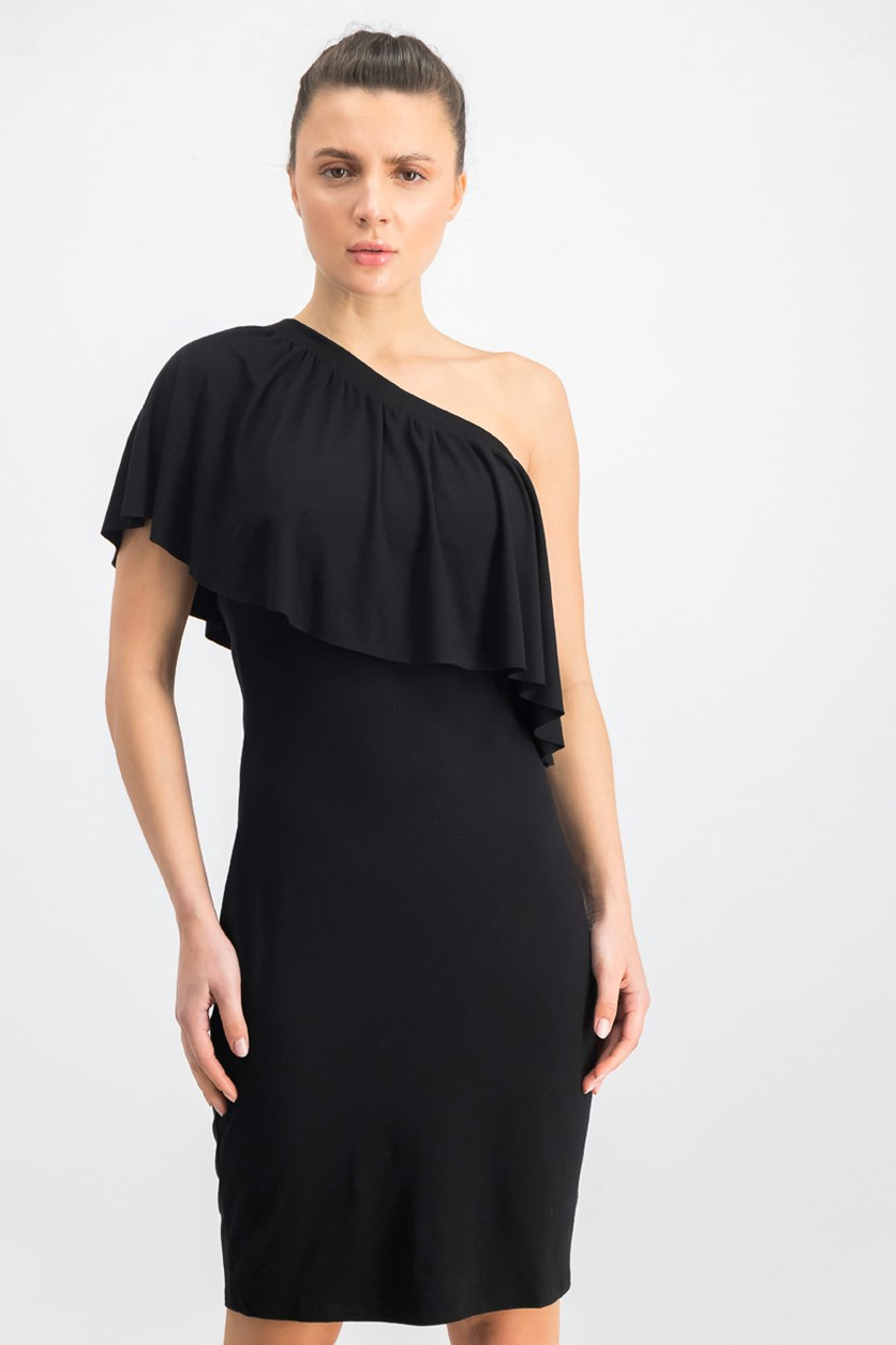 Women's Ruffled One Shoulder Cocktail Dress, Black
