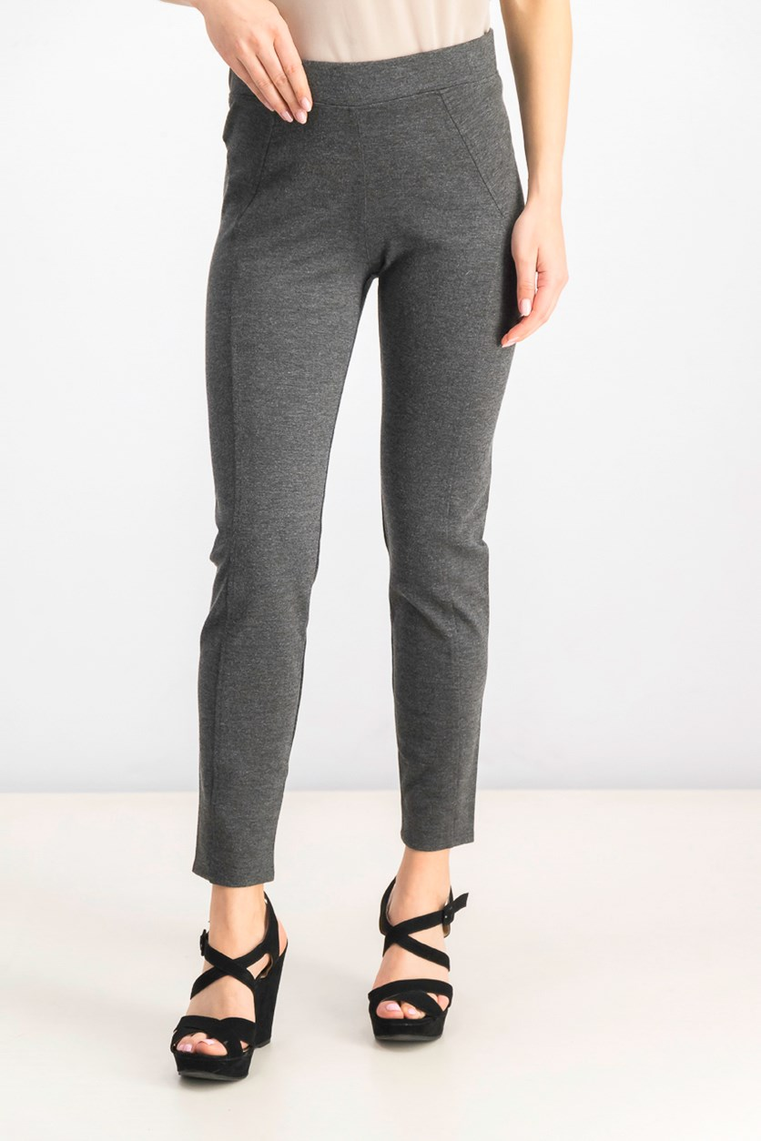 Womens Ponte Seamed Leggings, Charcoal