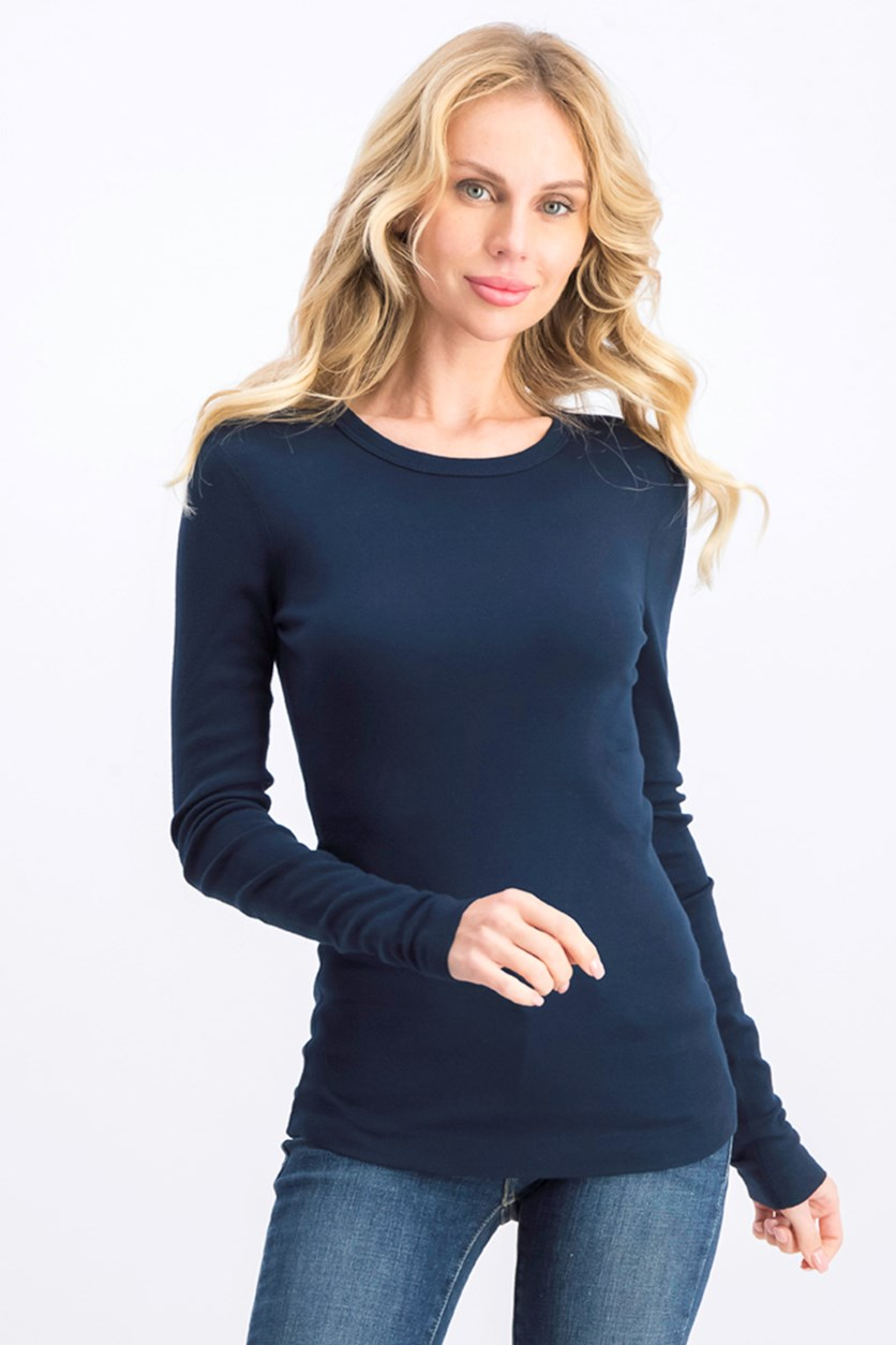 Women's Cotton Long Sleeves Pullover Top, Navy