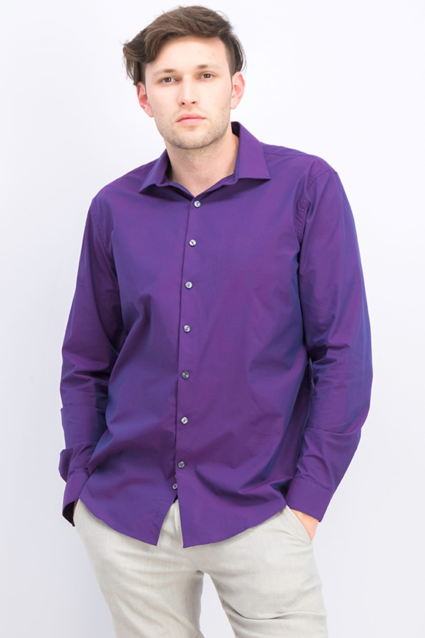 Men's Slim-Fit Dress Shirt, Dark Plum