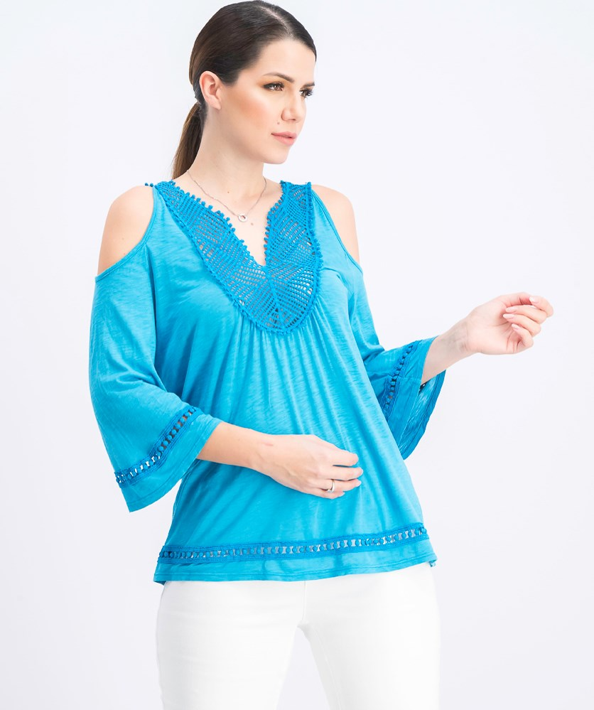Womens Crochet Trim Cold Shoulder Casual Top, Turquoise
