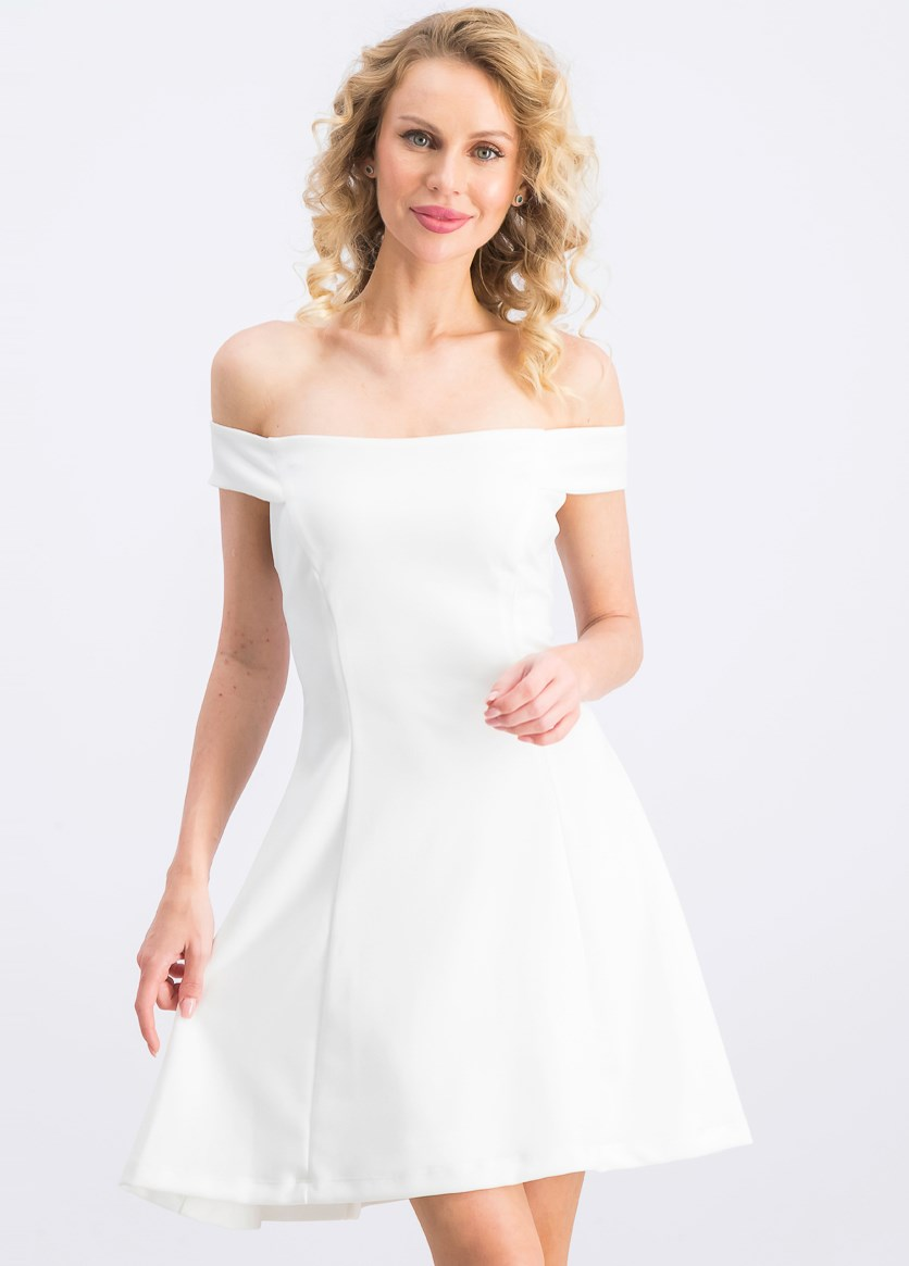 Juniors' Off-the-Shoulder Party Dress, White