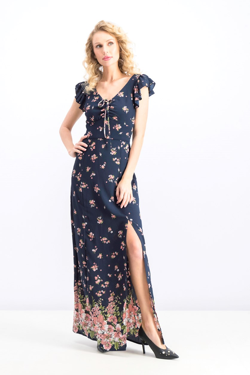Women's Floral Peasant Crepe Maxi Dress, Navy