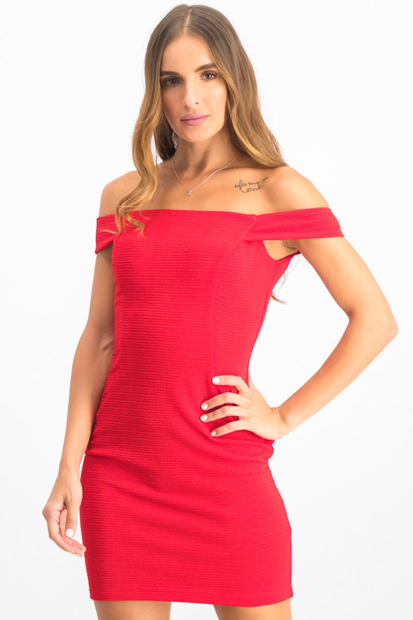 Juniors' Off-Shoulder Textured Bodycon Dress, Red