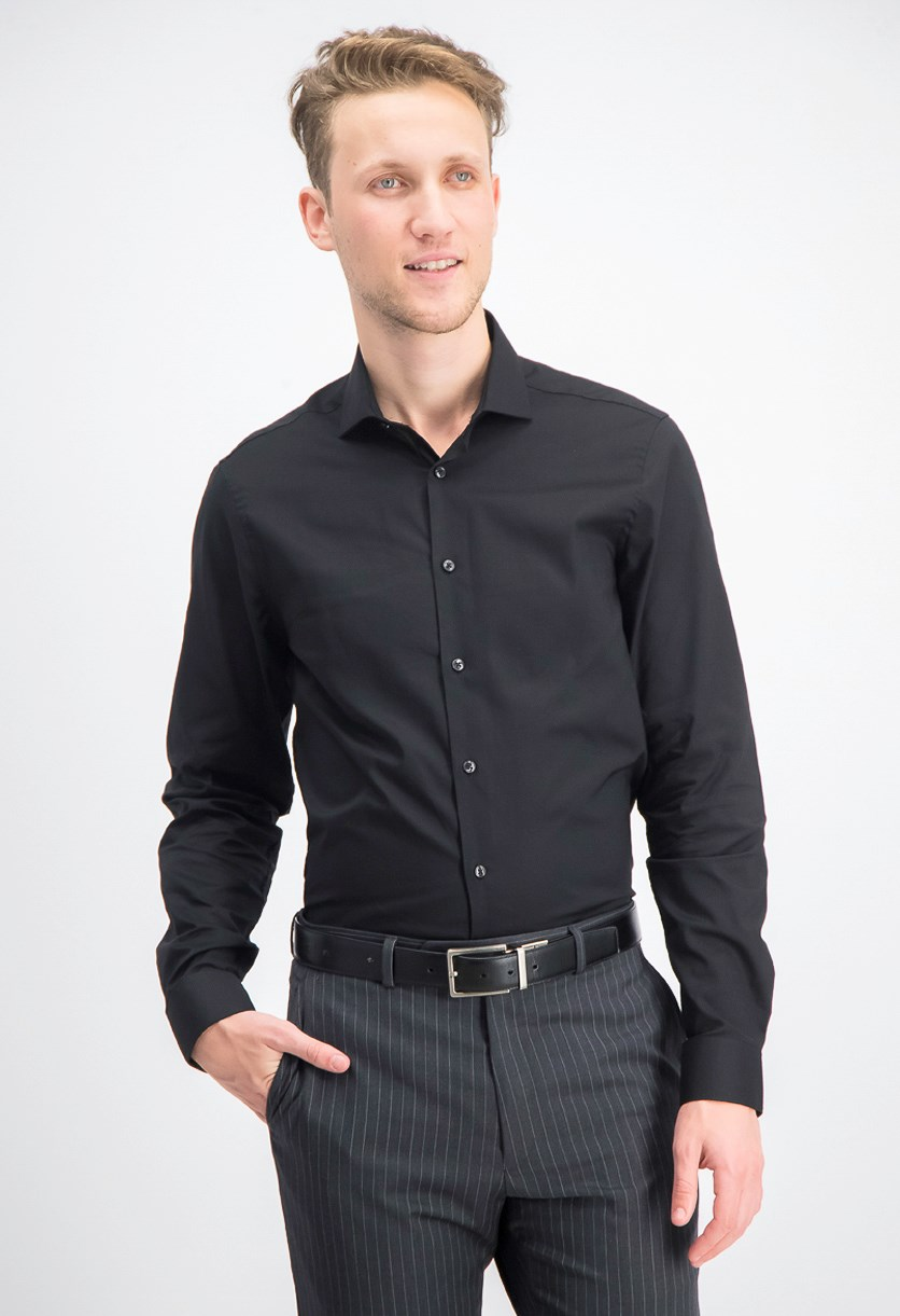 Men's Longsleeve Slim Fit Dress Shirt, Black