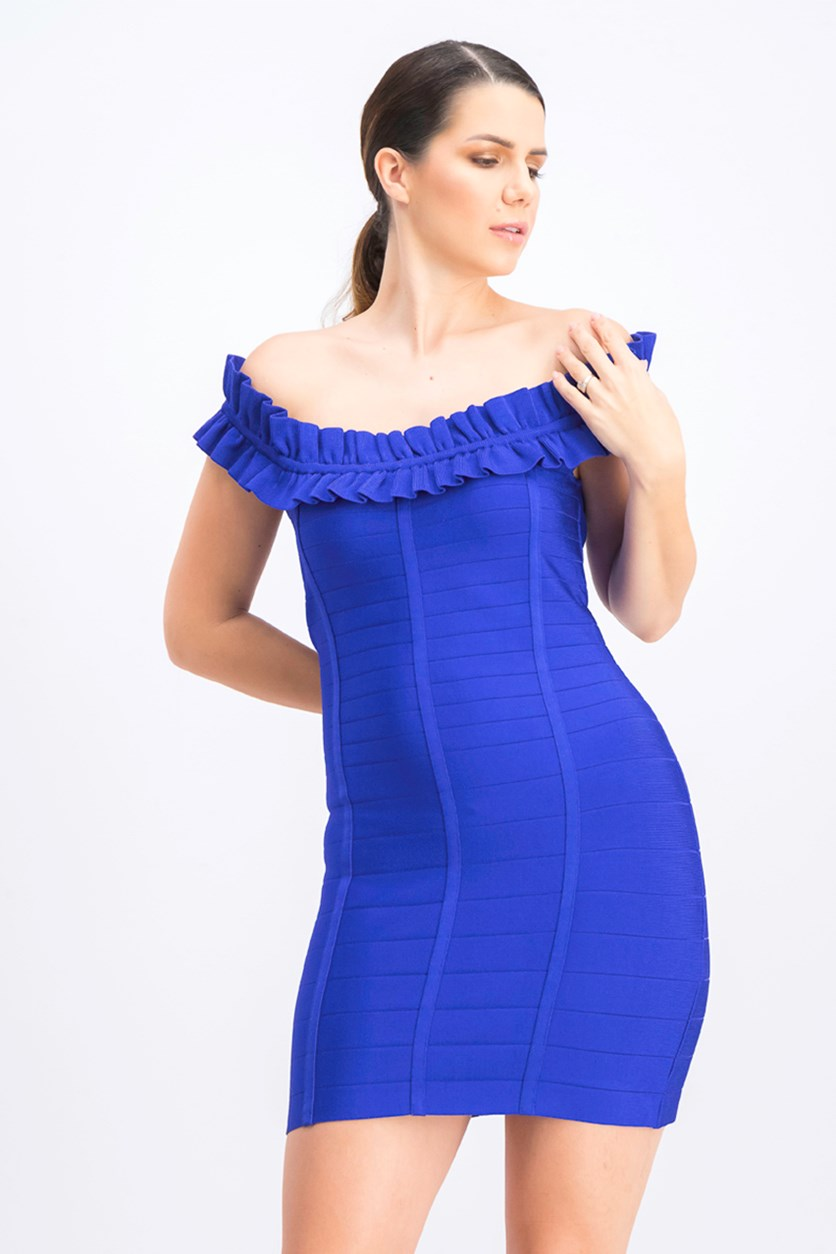 Women's Ruffled Bandage Dress, Clematis Blue