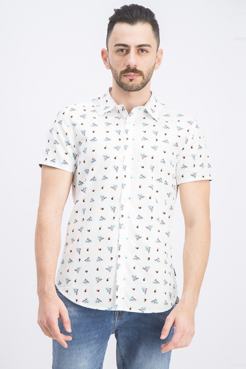 Men's Button-Down Island Print Shirt, White Combo