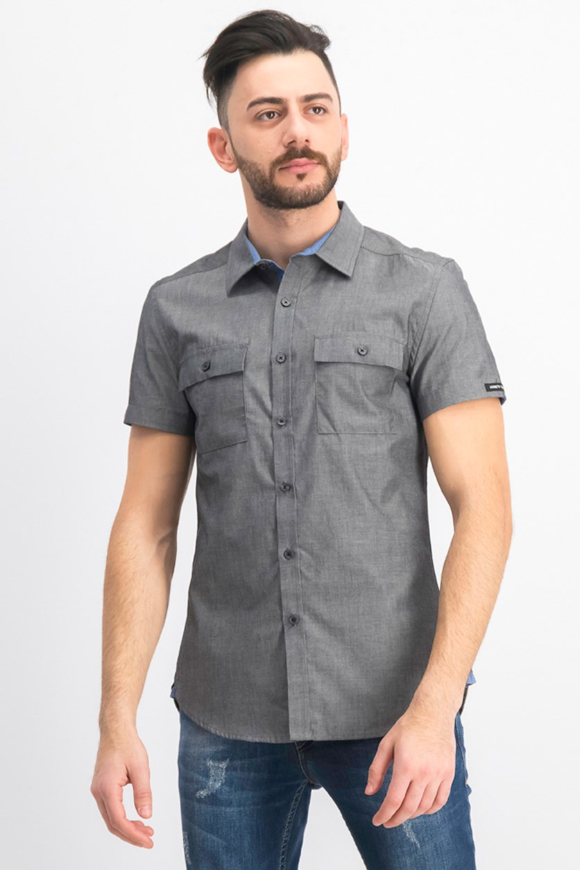 Men's 2 Pocket Casual Shirt, Black