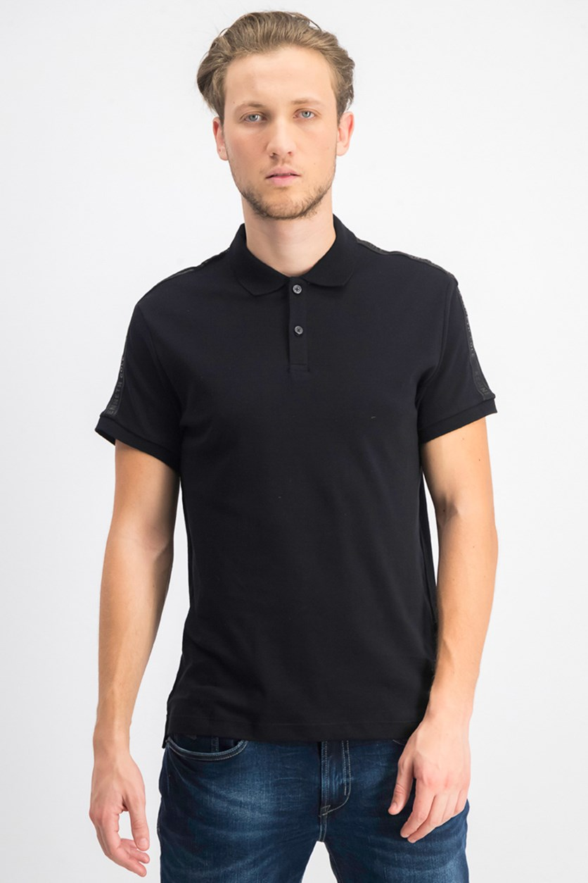 Men's Short Sleeve With Contrast Collar Rib Polo Shirt, Black