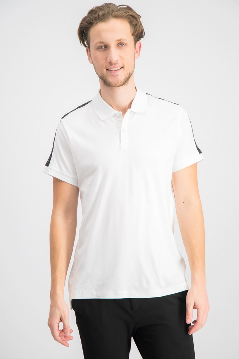 Men's Short Sleeve With Contrast Collar Rib Polo Shirt, White