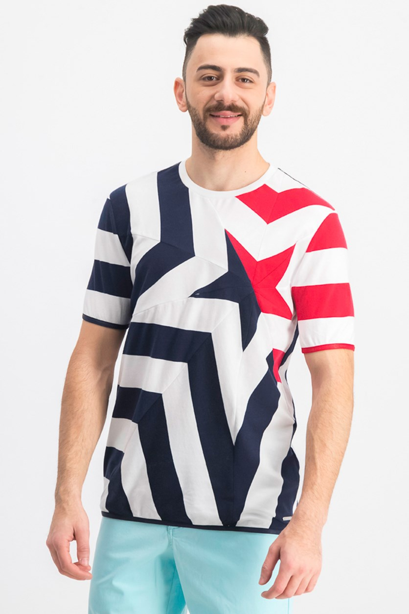 Men's Star Piece Tee Shirt, Bright White Combo