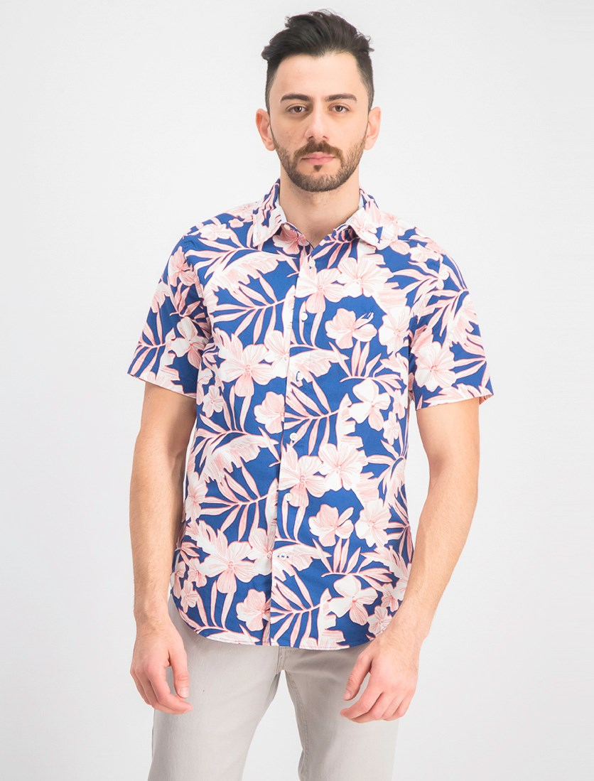 Men's Classic-Fit Performance Stretch Floral Shirt, Blue/White/Red