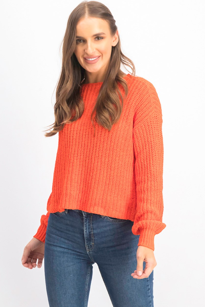 Women's Petites Crop Crew Neck Sweater, Orange