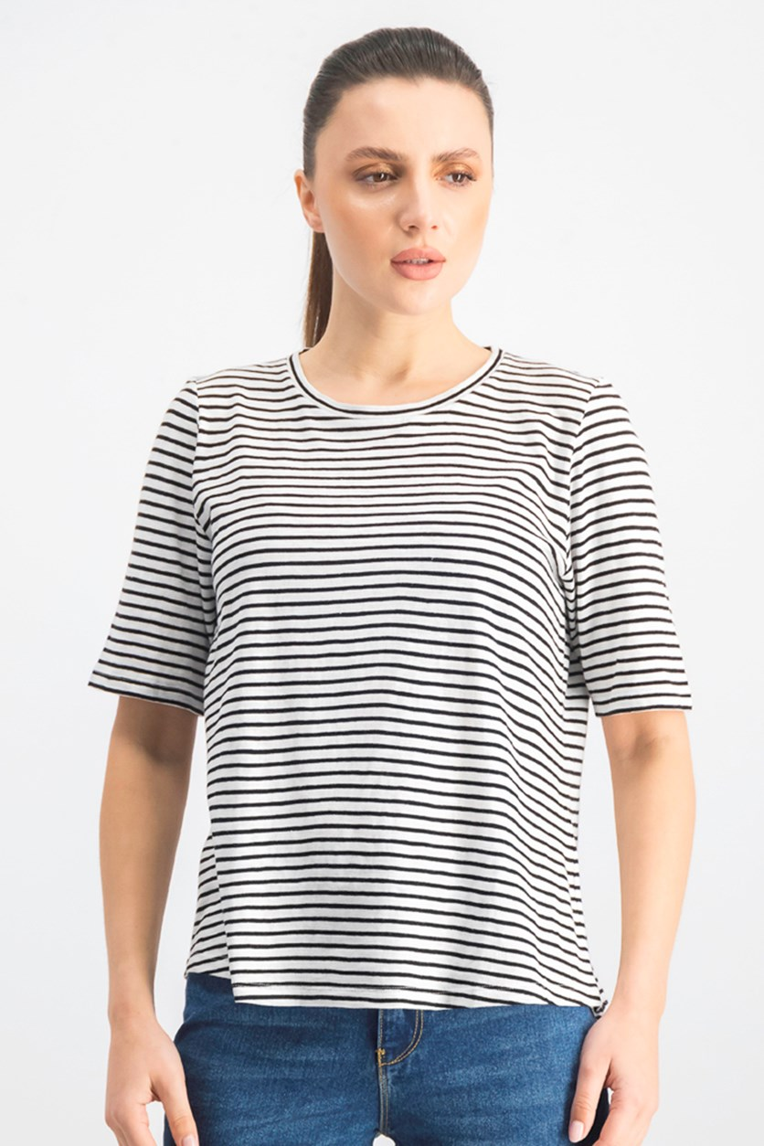Women's Petites Striped Elbow Sleeve Tee, White/Black