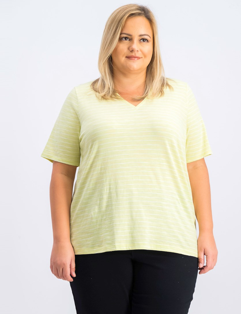 Striped V-Neck Short-Sleeve Tee, Lemon Ice
