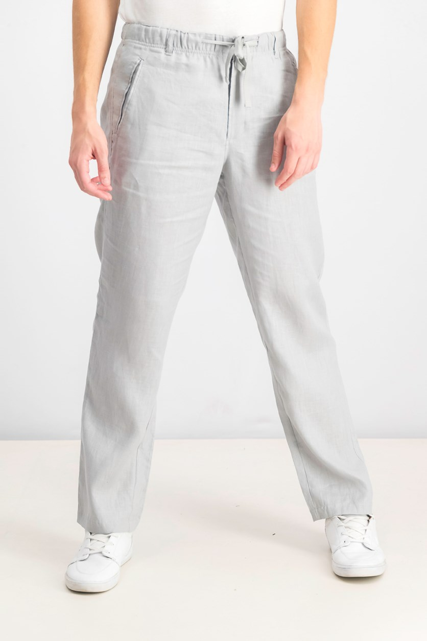 Men's Drawstring Linen Pants, Shade Slate